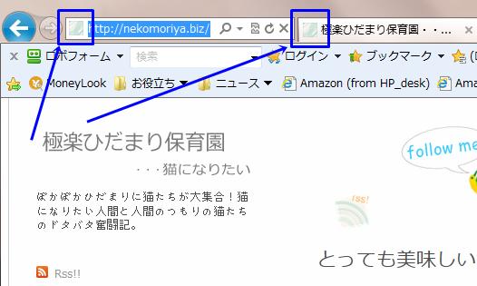 ファビコン設定済みのサイト(IE)