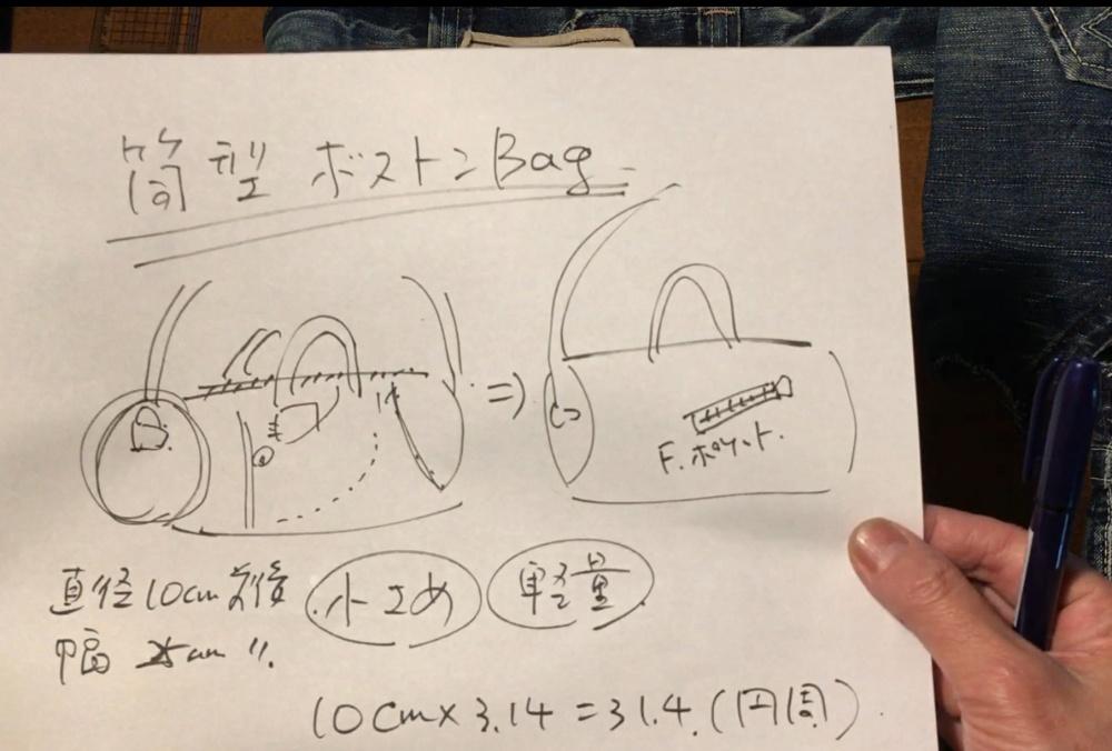 ドラム型ボディバッグのデザイン画