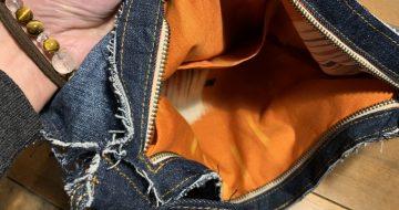 既製品の本革バッグを参考にリメイクデニムバッグ