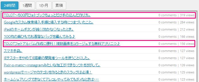 Wordpress Popular Postsアクセス数24時間