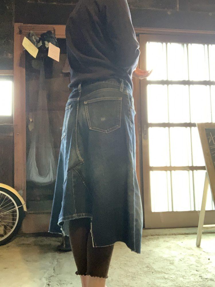 ジーンズリメイクでスカート