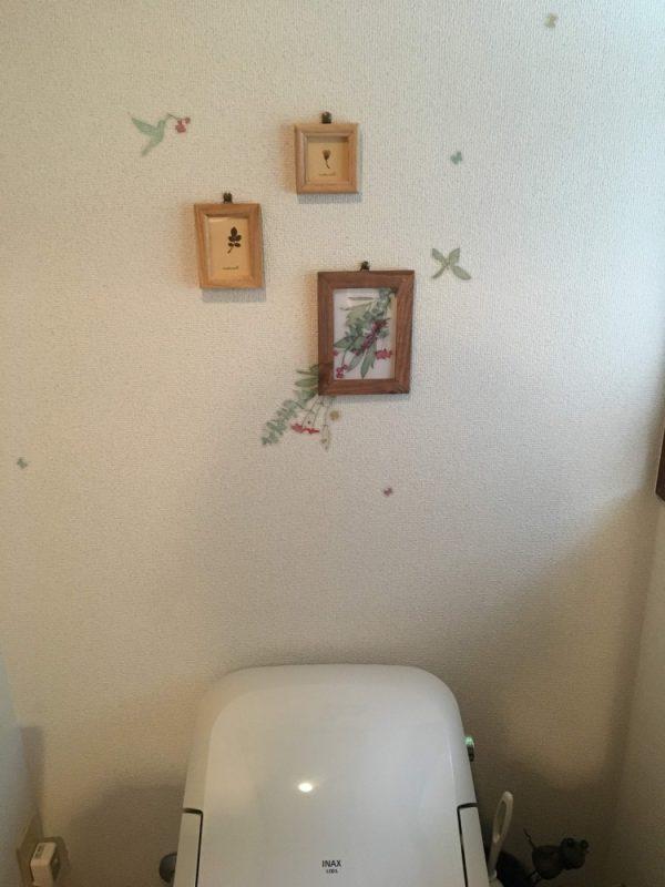意外とシンプルなとこに落ち着いたトイレの壁面