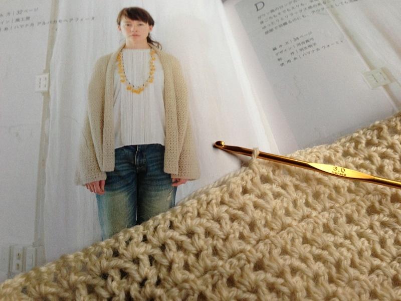 真っ直ぐ編みの簡単鉤針編みアウター