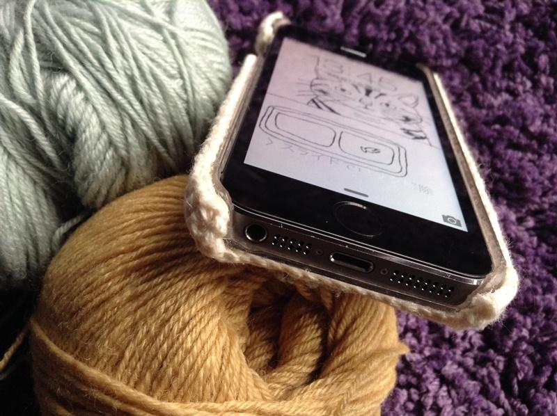手編みiPhoneカバー下側
