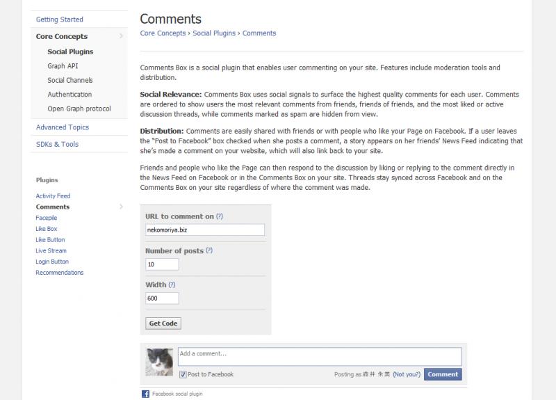 もろもろ入力、簡単。フェイスブックコメント欄設置